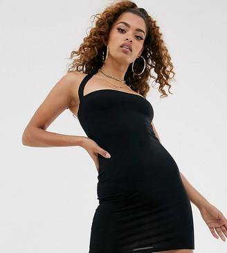 Asos DESIGN Petite going out 90's halter bodycon mini dress-Black