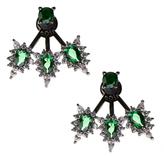 Noir Louise Gunmetal-Tone Green Crystal Earrings