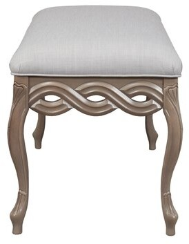 Prato Upholstered Bench Duralee Furniture Body Fabric: Addison Putty