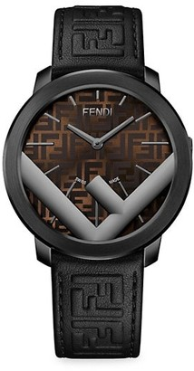 Fendi Timepieces Run Away Stainless Steel & Leather-Strap Watch