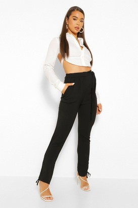 boohoo Ruched Leg Belted Slim Fit Pants