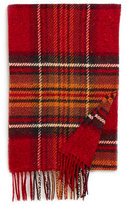 Johnstons of Elgin Red Chunky Check Cashmere Blend Scarf
