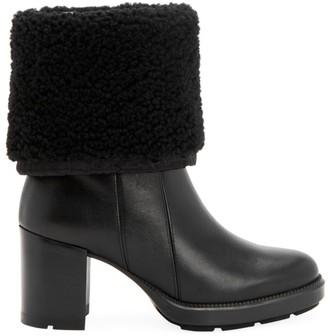 Aquatalia Ishana Block-Heel Shearling-Lined Boots
