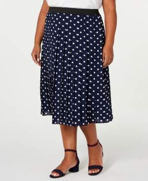 Charter Club Plus Size Polka Dot Pleated Midi Skirt, Created for Macy's