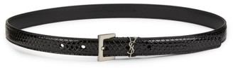Saint Laurent Monogram Python-Embossed Leather Skinny Belt