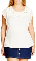 City Chic Plus Size Women's 'Attitude' Eyelet Top