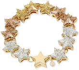 Betsey Johnson Gold-Tone Glitter Star Ombré Link Bracelet
