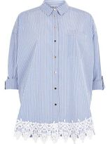 River Island Womens Blue stripe print lace hem shirt