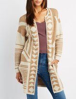 Charlotte Russe Geometric Patterned Open-Front Cardigan