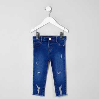 River Island Mini girls Blue ripped Molly jeggings