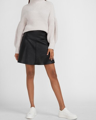 Express High Waisted Vegan Leather Flare Mini Skirt