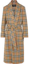 Burberry Checked Wool Coat - Beige