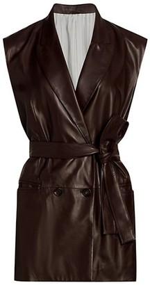 Brunello Cucinelli Collared Leather Wrap Vest