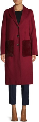 T Tahari Justine Faux-Fur Patch Pocket Topper Coat