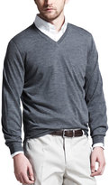 Brunello Cucinelli Fine-Gauge Tipped V-Neck Sweater, Gray