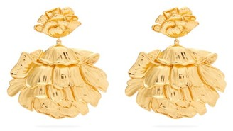 Aurelie Bidermann Flower 18kt Gold-plated Clip Earrings - Womens - Gold