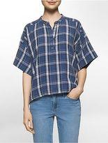 Calvin Klein Womens Lightweight Plaid Henley Shirt