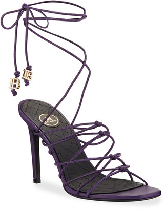 Balmain Mikki Leather Strappy Wrap Sandals
