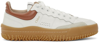 Chloé White and Brown Franckie Sneakers