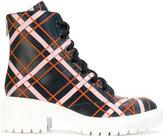Kenzo plaid lace-up boots - women - Leather/Polyurethane - 36