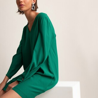 La Redoute Collections Long-Sleeved Mini Dress with V-Neck