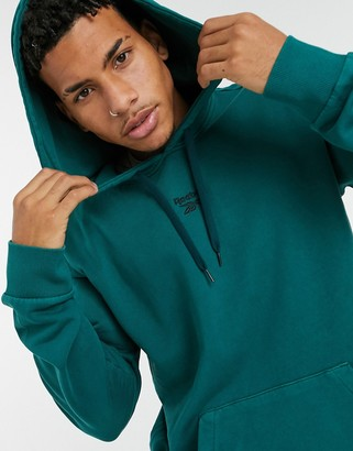 Reebok Classics Premium washed hoodie in deep teal