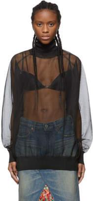 Toga Black Sheer Knit Turtleneck
