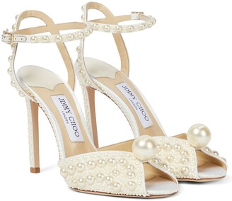Jimmy Choo Sacora 100 faux pearl-embellished sandals