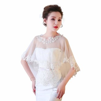 Central Chic Handcrafted Wedding Ivory Lace Tulle Trim Bridal Shawl Wrap Stole Shrug Bolero Jacket