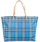 Burberry Leather-Trimmed House Check Tote