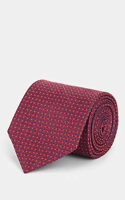 Brioni Men's Geometric-Pattern Silk Jacquard Necktie - Red