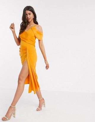 ASOS DESIGN drape detail cami pencil midi dress in orange