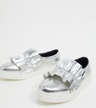 Simply Be wide fit ruffle detail plimsoles in silver