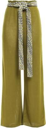 Missoni Belted Pointelle-knit Wool Wide-leg Pants