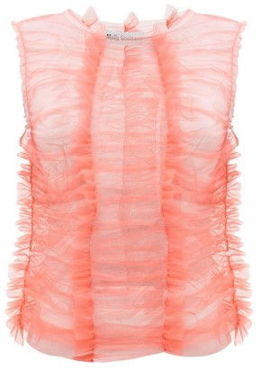 Molly Goddard Joly Ruched Tulle Top - Pink