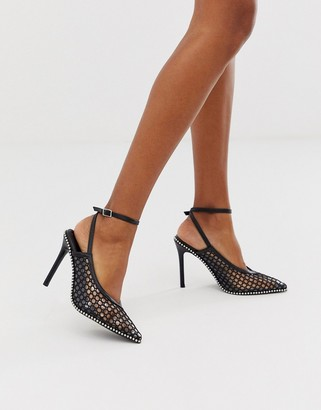 Asos DESIGN Permission pointed high heels with studs in black