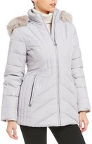Anne Klein Down Zip Front Faux Fur Hood Jacket