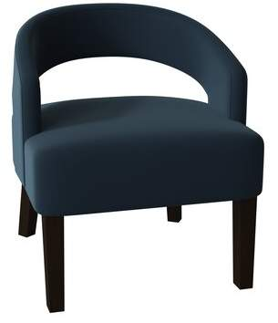 Poshbin Carly Barrel Chair Poshbin Body Fabric: Key Willow, Leg Color: Dark Brown