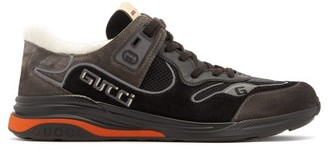 Gucci Ultrapace Distressed Suede Trainers - Mens - Black