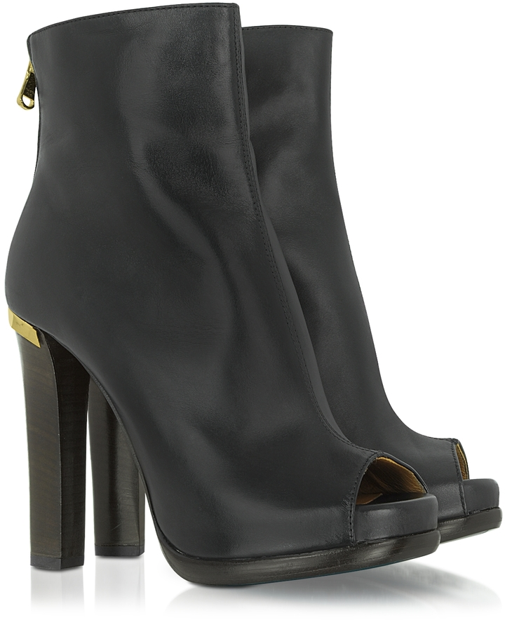 Patrizia Pepe Open-Toe Nappa Leather Bootie