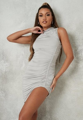 Missguided Grey Slinky Ruched Mini Dress