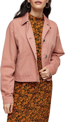 Topshop Boxy Crop Shirt Jacket