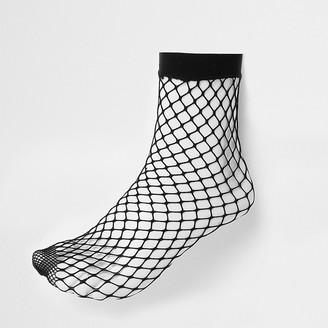 River Island Black wide fishnet ankle socks