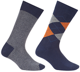 John Lewis Made In Italy Cotton Cashmere Argyle Stripe Socks, Pack Of Two, Navy/orange