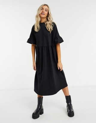 ASOS DESIGN oversized frill sleeve smock sweatshirt midi dress in black