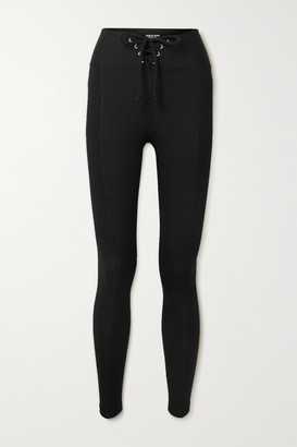 YEAR OF OURS Football Lace-up Ribbed Stretch-jersey Leggings - Black