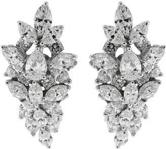 YEPREM 18kt White Gold Diamond Clip-On Earrings