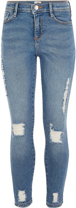 River Island Girls mid Blue ripped slim Amelie jeans