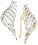 Wrapped wrappedandtrade; Diamond Leaf Ear Cuff Earrings (1/3 ct. t.w.) in 10k Yellow Gold