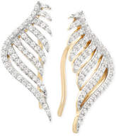 Wrapped wrappedTM Diamond Leaf Ear Cuff Earrings (1/3 ct. t.w.) in 10k Yellow Gold, Created for Macy's